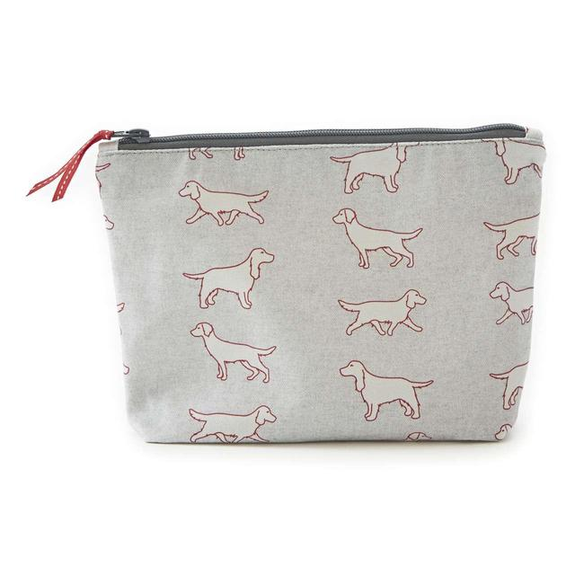 Home and Hound Spaniel Fabric Wash Bag, Grey
