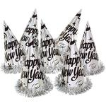 Decor Silver Foil Hats With Tinsel