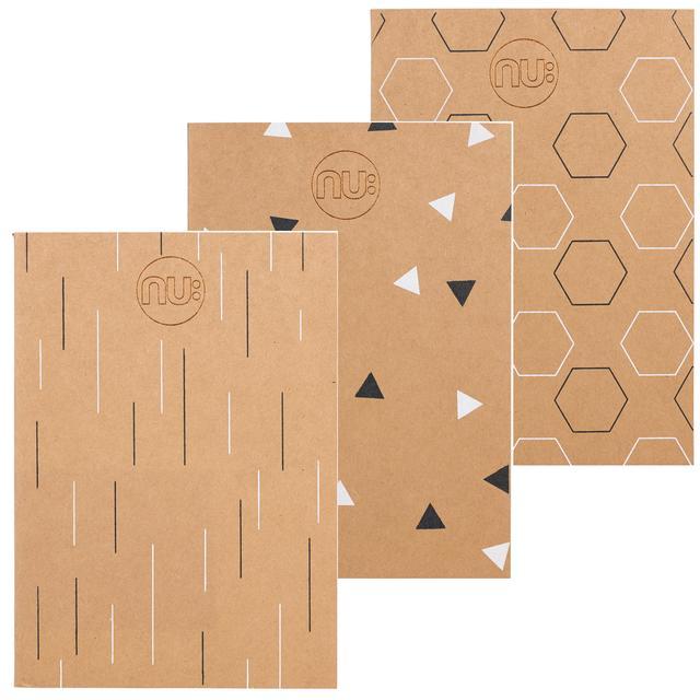 nu kraft deco a4 stitched spine notebook set 3 per pack from ocado