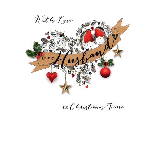 With Love Christmas.Husband Christmas Card With Love Laser Heart Ocado