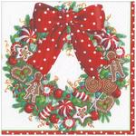 Candy Wreath 3ply Christmas Napkins 33cm