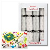 Waitrose Trees Silver & White Christmas Crackers