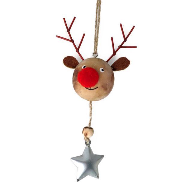 Wooden Reindeer Head Christmas Tree Decoration