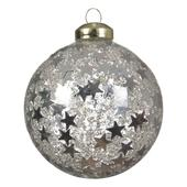 Silver Stars Clear Glass Bauble