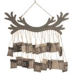Hanging Wooden Antler Advent Calendar With Pockets