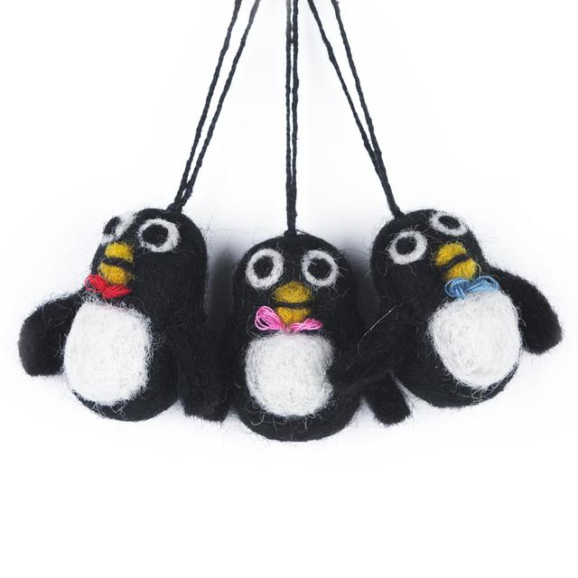 felt penguins christmas tree decoration from ocado