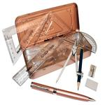 Oxford Maths Set & Ballpoint Pen, Rose Gold