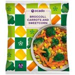 Ocado Frozen 4 Steam Bags Broccoli, Carrots & Sweetcorn