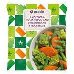 Ocado Frozen 4 Steam Bags Carrots, Romanesco & Green Bean