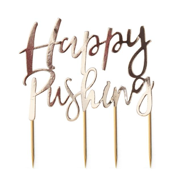 Ginger Ray Happy Pushing Cake Topper, Gold