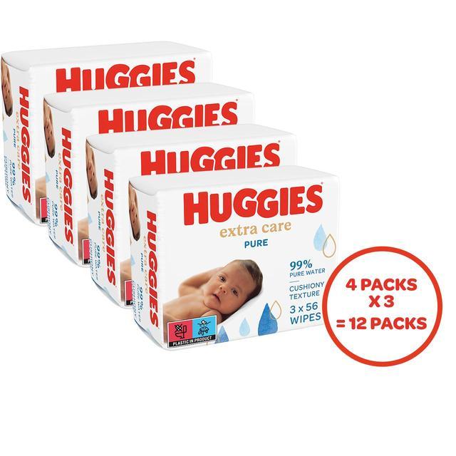 Huggies Pure Baby Wipes Fragrance Free 12 Packs X56 Wipes