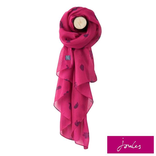 Joules Ruby Pink Etched Animals Scarf