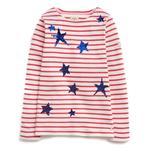 Joules Star Stripe Sequin Long Sleeve T-Shirt 5 Years