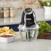 Tower Black Mini Chopper With Glass Bowl