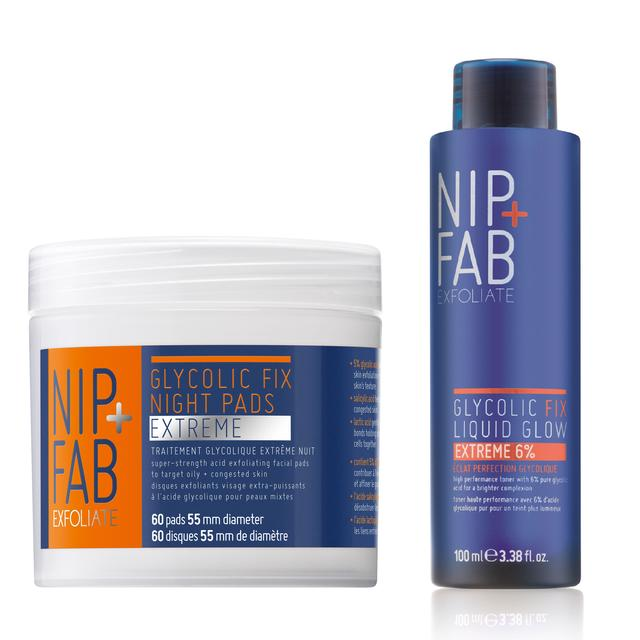 Nip+Fab Glycolic Cleanser Set, Glycolic Extreme Night Pads & Liquid Glow