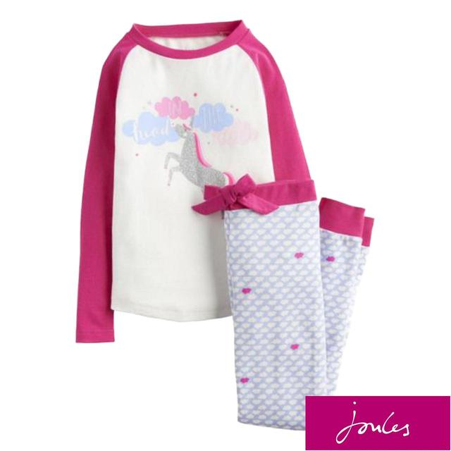 Joules Cream Unicorn Pyjama Set, 2-10 Years