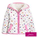 Joules Cream Acorn Spot Reversible Fleece Jacket, 3-24 Months