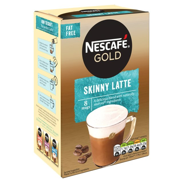 Nescafe Gold Skinny Latte Coffee 8 Sachets 156g From Ocado