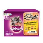 WHISKAS 2-12mths Kitten Pouches Casserole Poultry Selection in Jelly