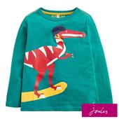 Joules Green Zip Dino Pocket Long Sleeve T- Shirt, 2-6 Years