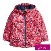 Joules  Deep Pink Inky Ditsy Waterproof  Jacket, 3-6 Years