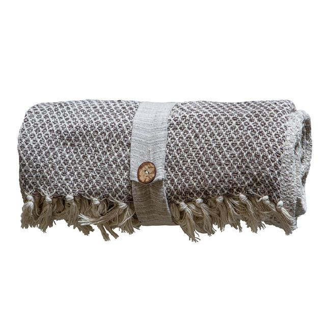 Gallery Direct Cotton Diamond Throw Natural 130x170cm