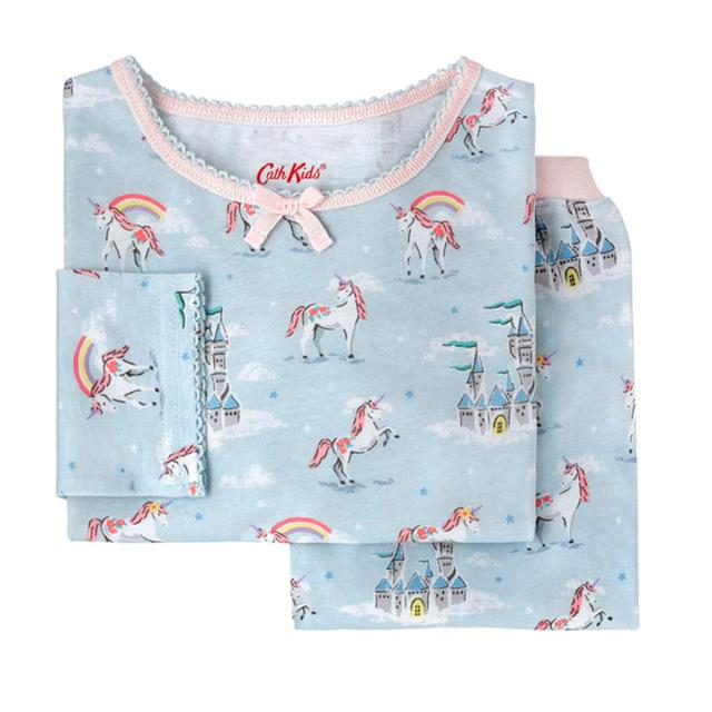 Cath Kidston Girls Jersey Pyjamas Unicorns and Rainbows, 1-2 Years