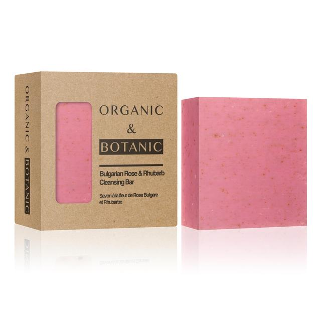 Organic & Botanic Cleansing Bar Soap, Bulgarian Rose & Rhubarb