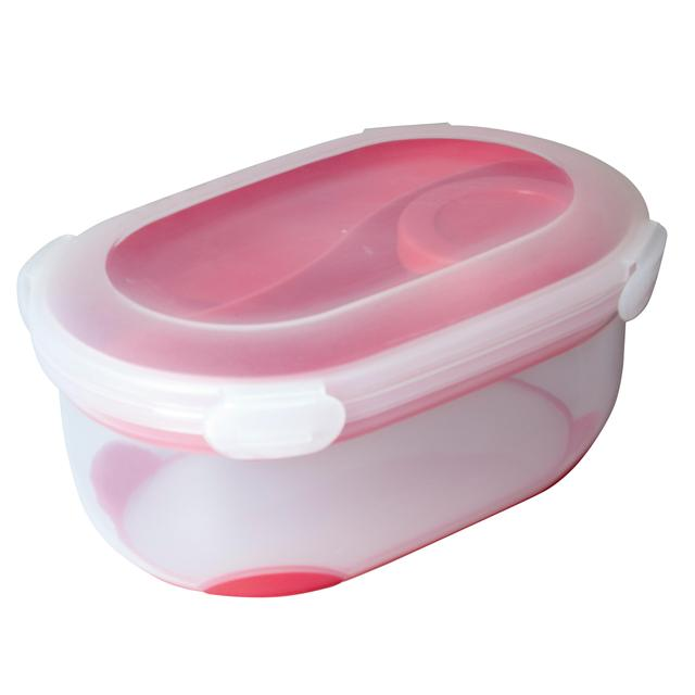 Addis Clip & Go Lunch Salad Box with Tray, Spork & Dressing pot, Cherry Red