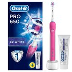 Oral-B Pro 650 3D White Electric Toothbrush with Toothpaste, Pink