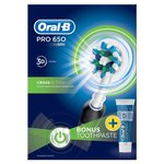 Oral B Pro 650 Crossaction Electric Toothbrush with Toothpaste, Black