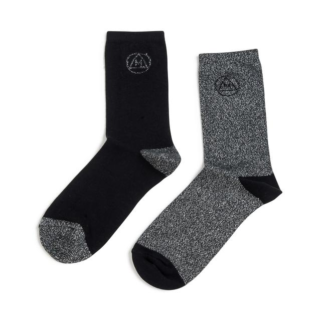 Missguided Ladies Glitter Socks, Black & Silver, Size 4-8