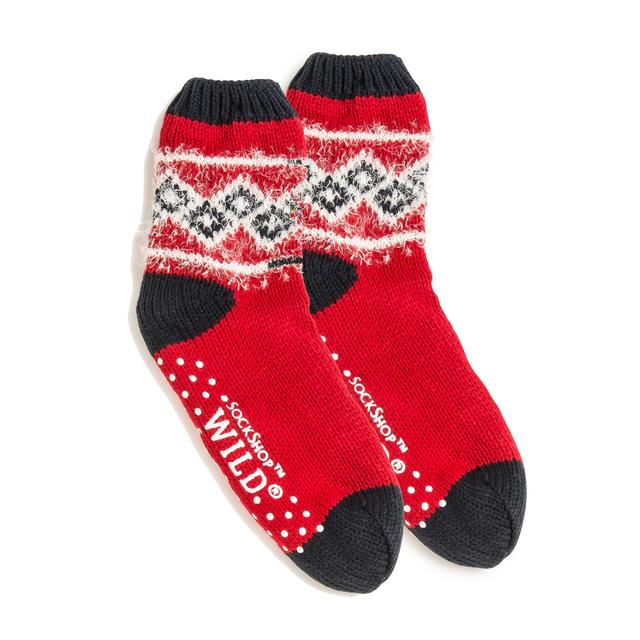 Wild Feet Mens Chunky Knit Slipper Socks Red Size 7 11 From Ocado