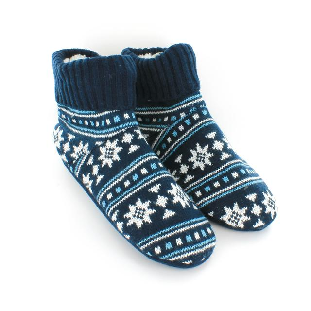 Wild Feet Mens Knitted Slipper Bootie Navy Size 7 11 From Ocado