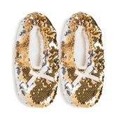 Wild Feet Ladies Sequin Knitted Slippers, Gold, Size 4-8