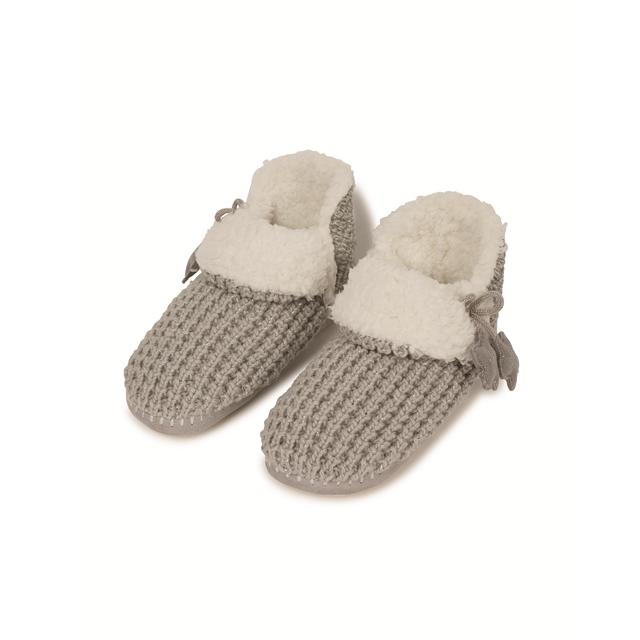 FatFace Knitted Slipper Boots, Grey