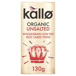 Kallo Organic Unsalted Rice Cake Thins