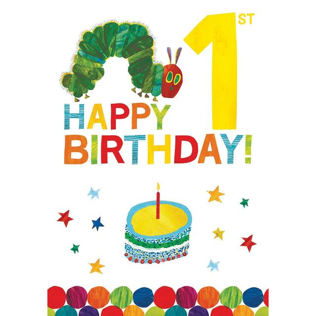 The Hungry Caterpillar Chocolate Cake 1st Birthday Greeting Card From Ocado