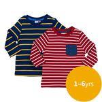 Waitrose Mini Navy & Red Stripe T-Shirt