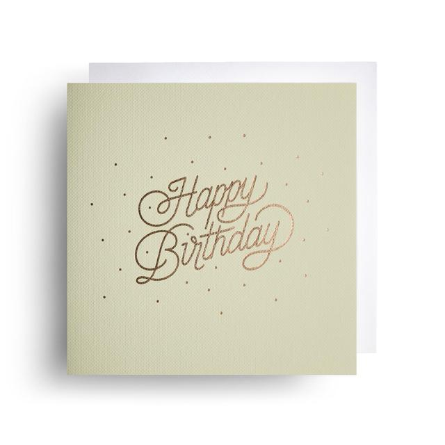 Card Cotton Letterpress Foil Stamped Happy Birthday