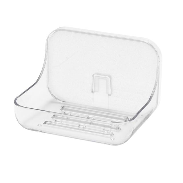 Addis Invisifix Bathroom Soap Dish Tray with Wall Mount Storage, Clear