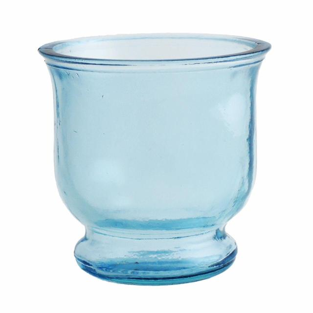 Jarapa Recycled Glass Hurricane Tealight Holder, 9cm, Blue