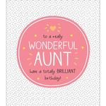 Happy Jackson Wonderful Aunt Brilliant Birthday Card