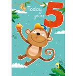 5th Monkey Birthday Card