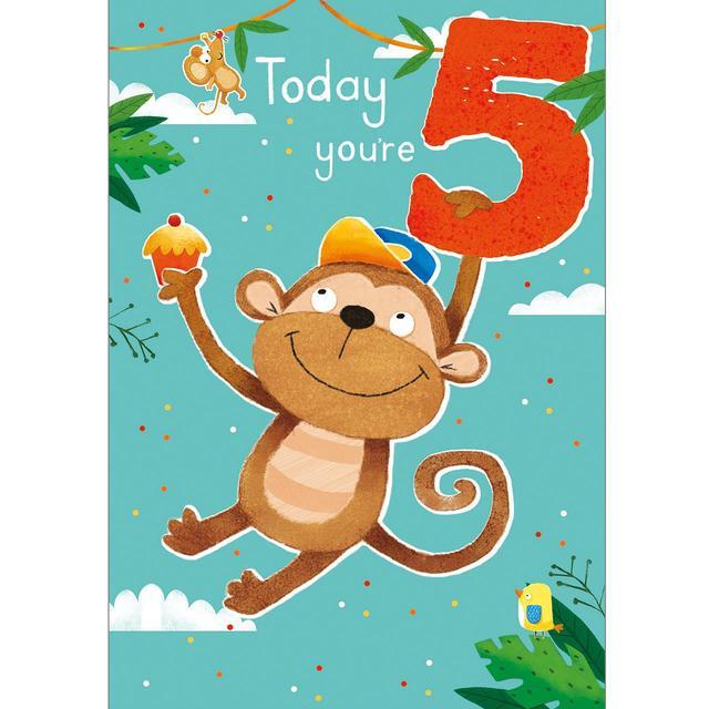 5th Monkey Birthday Card From Ocado
