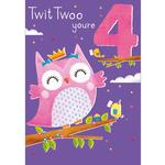 4th Owl Birthday Card