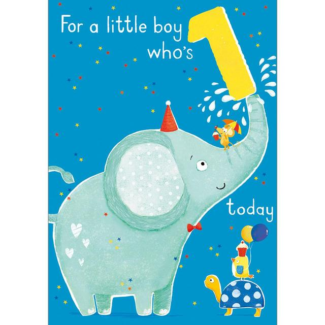 1st Elephant Birthday Card From Ocado
