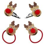 Waitrose Mini Glitter Reindeer Hair Clips and Ties and Set
