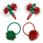 Waitrose Mini Christmas Bow and Tinsel Red and Green Hair Set
