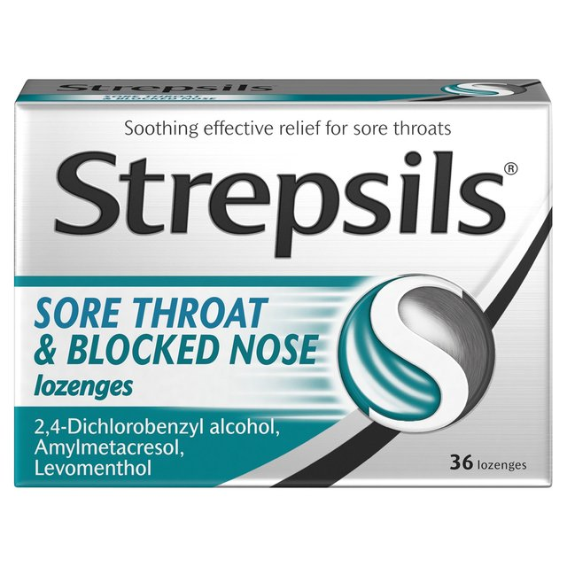 Strepsils Sore Throat, Blocked Nose Relief Lozenges ...